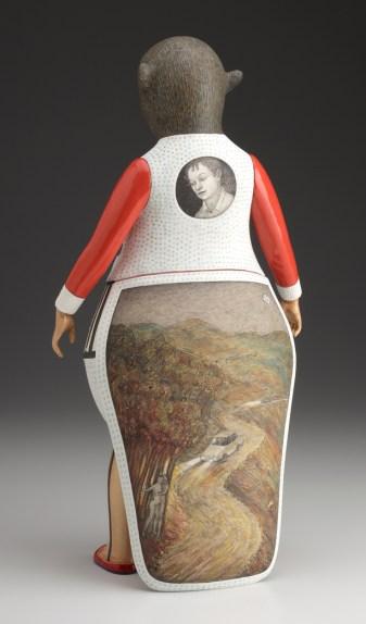 "Sergei Isupov, ""Future"" 2011, reverse, porcelain, slip, glaze, 15.5 x 6 x 8""."