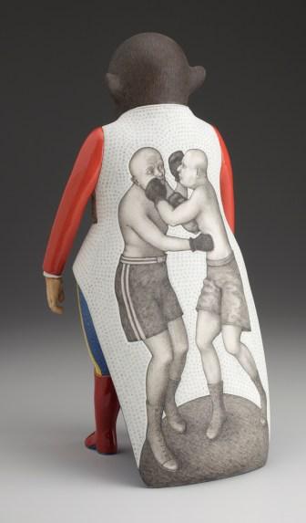 "Sergei Isupov, ""Strong"" 2011, reverse, porcelain, slip, glaze, 14.5 x 7.5 x 7.5""."
