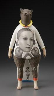 """Sergei Isupov, """"Lady Cat"""" 2012, porcelain, slip, glaze, 18 x 8 x 6.5""""."""
