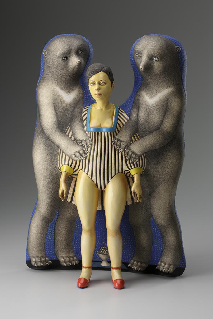 """Sergei Isupov, """"Free Ride"""" 2012, porcelain, slip, glaze, 20.5 x 14 x 6""""."""