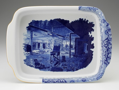 """Paul Scott, """"Cumbrian Blue(s) - Spode Works Closed"""" 2009-2011, in-glaze decal, gold lustre on Spode Italian casserole salvaged from the kiln area in the closed Spode factory, 15 x 11 x 2.25"""". Museum of Fine Art, Boston Collection."""