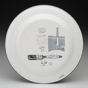 "Paul Scott, Cumbrian Blue(s), Leibstadt, reverse, 2013, inglaze decal, gold lustre on old enamel plate, 9.5""diameter."