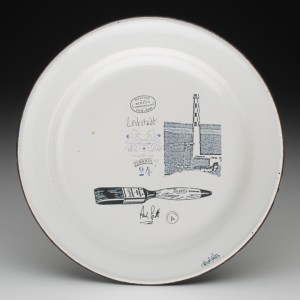"Paul Scott, Cumbrian Blue(s), Leibstadt, reverse, 2013, inglaze decal, gold lustre on old enamel plate, 9.5""diameter."