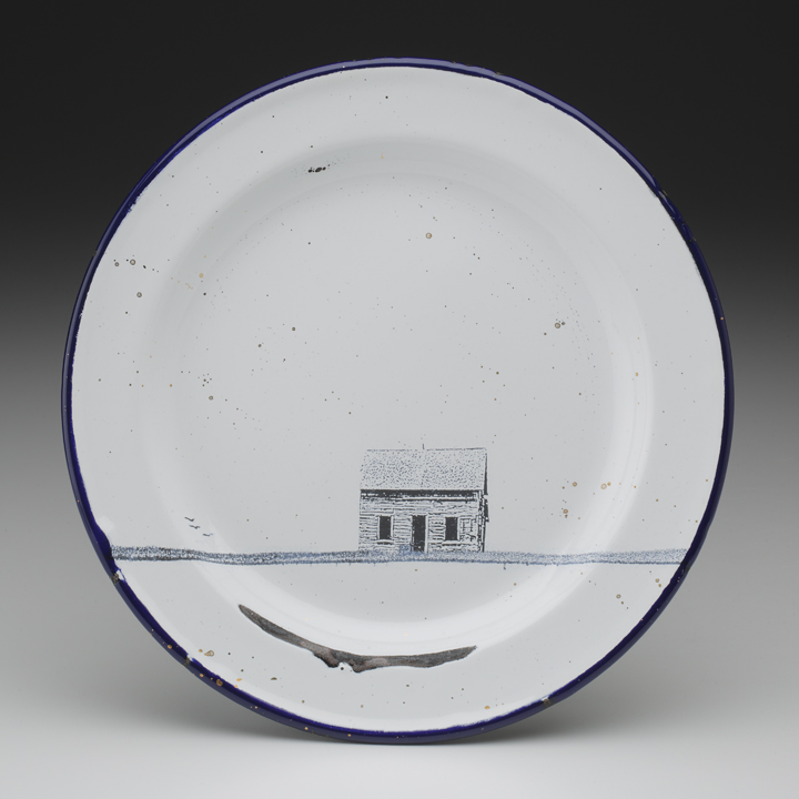 "Paul Scott, ""Cumbrian Blue(s) - Alberta No: 02/30/06/13"" 2013, in-glaze decal, gold lustre on old enamel plate, 7.75""diameter"
