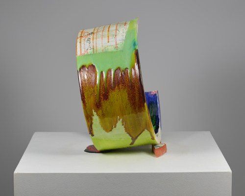 "Lauren Mabry, ""Spilling Fragment (Rainbow Spill)"" 2016, red earthenware, slips, glaze, 16 x 16 x 10""."