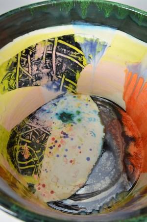 "Lauren Mabry, ""Cylinder"" 2016, red earthenware, slips, glaze, 12.25 x 14.5 x 14.5""."
