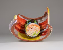"""Lauren Mabry, """"Contain or Deliver"""" 2016, red earthenware, slips, glaze, 22 x 22 x 22""""."""
