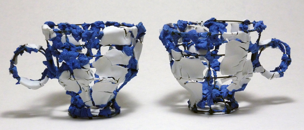 "Adam Shiverdecker, ""Fiesta Series (medium blue) Cup"" 2012, porcelain, nichrome wire, 5.5 x 4 x 4""."