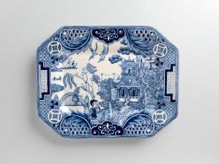 "Stephen Bowers, Antipodean Willow, 2013, 9.25 x 12"", octagonal dish, press moulded, earthenware, underglaze colour, clear glaze"