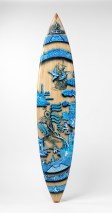 """Stephen Bowers, """"Walk the Plank"""" 2013, handmade surfboard (shaped by Peter Walker from paulownia timber), painted decoration, fiber-glass, resin, 7'7"""" x 22""""."""