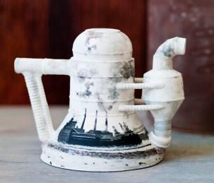 "Christa Assad, ""Detroit River"" 2011, porcelain, underglaze, glaze, 8.5 x 10 x 7""."