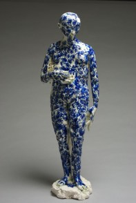 "Claire Curneen, ""Guardian"" 2012, porcelain, cobalt, and gold lustre, 29.5""."