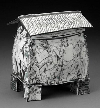 """Edward Eberle, """"October's House"""" 1996, porcelain, terra sigillata, 7.25 x 6.5 x 4.25"""". photo: John Polak (Pennington)"""
