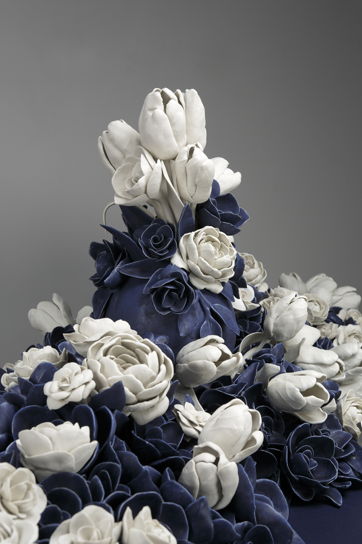 """Giselle Hicks, """"And Then It Was Still II"""" 2012, detail, vitreous china porcelain,wood, 48 x 60 x 24""""."""