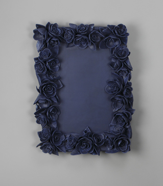 """Giselle Hicks, """"And Then It Was Still II Frame"""" 2012, vitreous china porcelain, 18 x 12 x 2""""."""
