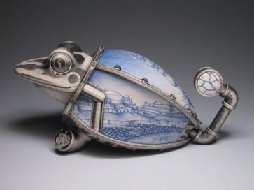 "Jason Walker, ""Desert Frog"" 2008, porcelain, underglaze, 21 x 10 x 10""."