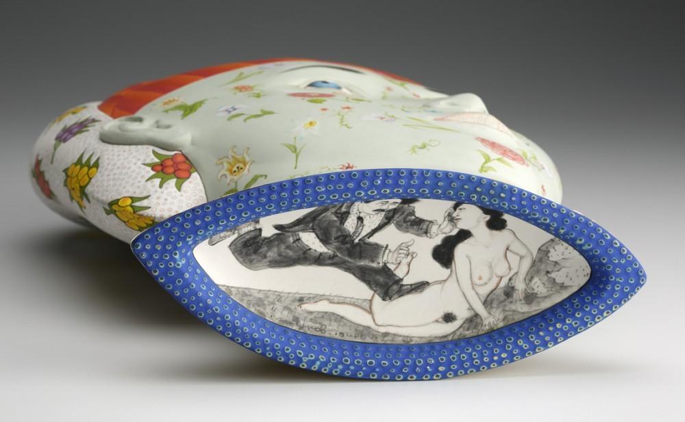 "Sergei Isupov, ""Jarira"" 2013, bottom view, porcelain, glaze, slip, 14 x 10 x 6""."