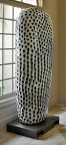 "Jun Kaneko, ""Untitled Dango"" 2000, stoneware, steel, 85 x 30 x 20""."