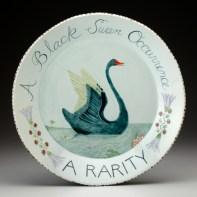 "Mara Superior, ""Black Swan Platter, a rarity"" 2010, porcelain, glaze, 16""."