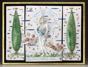 "Mara Superior, ""Mother Nature Says, 'Wake Up'"" 2010, porcelain, glaze, wood, pearls, gold leaf, 17 x 22 x 2""."