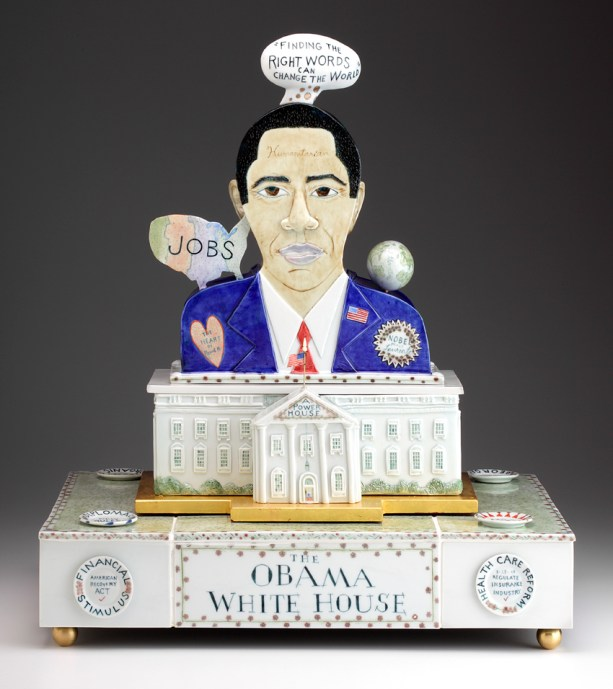 "Mara Superior, ""Obama White House"" 2010, porcelain, glaze, 23 x 20 x 16""."