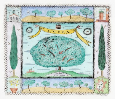 """Mara Superior, """"The Road to Lucca"""" 2008, hand-colored etching, 21.75 x 20.5""""."""