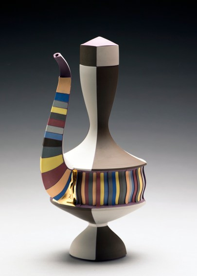 "Peter Pincus, ""Ewer"" (purple), 2016, colored porcelain, colored slip, gold lustre, 12 x 6 x 5""."