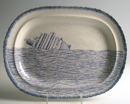"Paul Scott, ""Cumbrian Blue(s), Italian, Scott's Italian, Costa Concordia No. 1"" 2013, inglaze decal collage, gold luster on feather edged pearlware plate c. 1820, 10 x 13 x .75""."