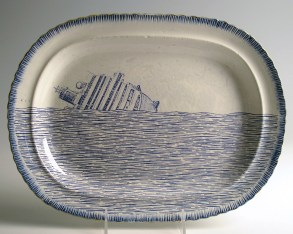 "Paul Scott, ""Cumbrian Blue(s), Italian, Scott's Italian, Costa Concordia No. 1"" 2013, inglaze decal collage, gold luster on feather edged pearlware plate c. 1820, 10 x 13 x .75""."