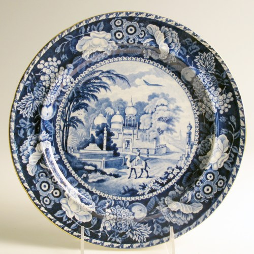 """Paul Scott, """"Cumbrian Blue(s), Scenery, Oriental, Mahomedan Mosque"""" 2013, inglaze decal collage, gold luster on transferware plate (manufacture unknown) c. 1820, 9.75 x .75""""."""