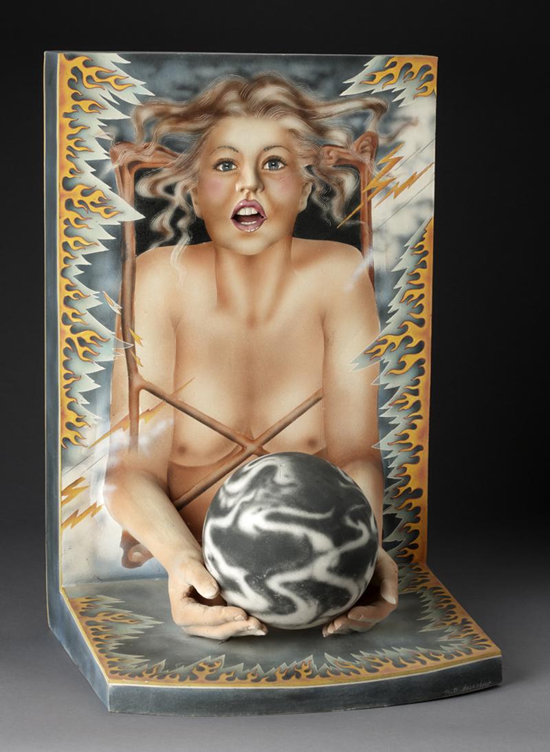 "Patti Warashina, ""Beating the Housewife Blues"" 1977, white earthenware, glaze, 24 x 16 x 13.75""."