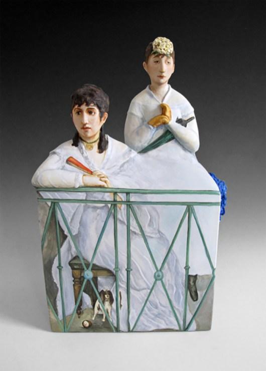 """Kadri Pärnamets, """"The Balcony after Edouard Manet"""" 2015, porcelain, slip, glaze, 9 x 8.5 x 12.75""""."""