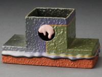 """Ron Nagle, """"Incense Burner"""" 1990–1991, glaze, ceramic, 2.75 x 5.25 x 2.5""""."""