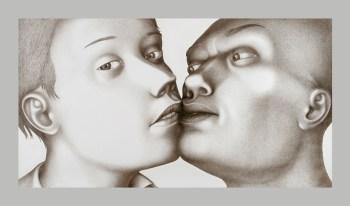 """Sergei Isupov, """"Liason"""" 2006, gouache on paper, 52 x 94""""."""