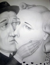 """Sergei Isupov, """"During 19th Century"""" 2009, charcoal on paper, 60 x 46.5""""."""