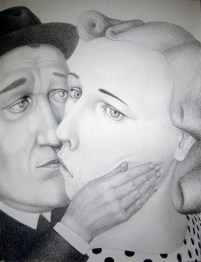 "Sergei Isupov, ""During 19th Century"" 2009, charcoal on paper, 60 x 46.5""."