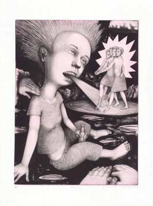 """Sergei Isupov, """"Princess"""" 2004, image: 24 x 18"""", paper: 30 x 22.5""""."""