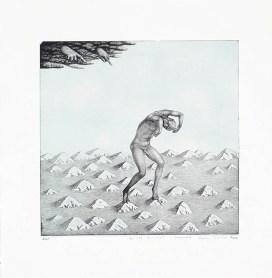 "Sergei Isupov, ""Guilt Haunts"" 2003, intaglio, siligraphy, image: 16 x 16"", paper: 23 x 22.5""."