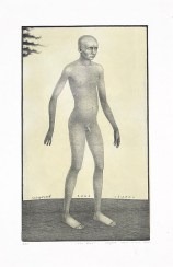 "Sergei Isupov, ""The Man"" 2003, intaglio and siligraphy, image: 24 x 14"", paper: 30 x 19""."