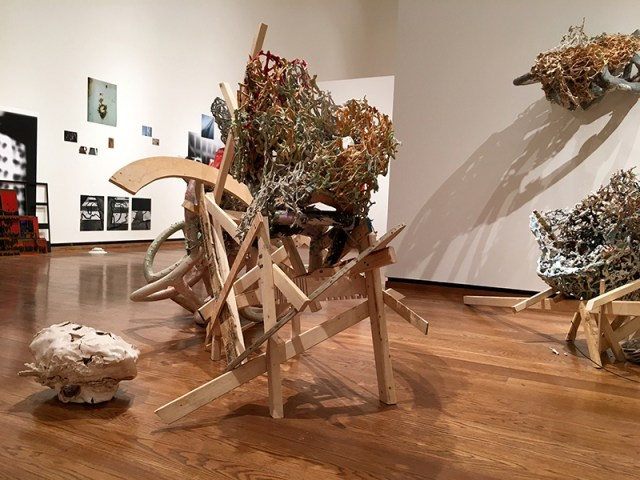 """Linda Sormin, """"The Disillusionment of the Toiler: Still in Spring Frost"""" 2016, ceramic, mixed media."""