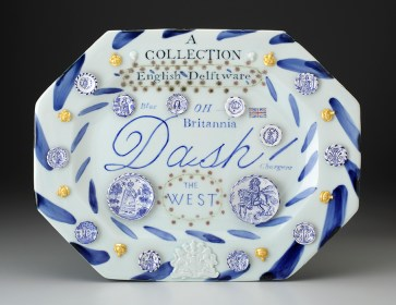 "Mara Superior, ""English Delftware: A Collection of Blue Dash Chargers"" 2016, porcelain, earthenware, glaze, gold leaf, 12 x 15 x 2""."