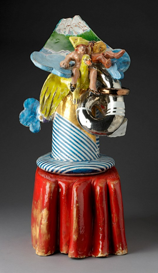 "Viola Frey, ""Flying Duck"" 1969, glaze, lustre, white earthenware, 29 x 14 x 15""."