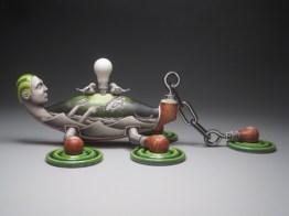 "Jason Walker, ""Capsized"" 2011, porcelain, china paint, overglaze enamel, 8.5 x 25 x 12""."