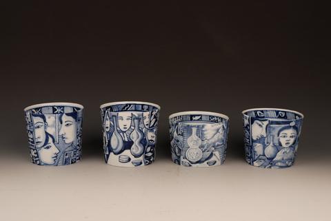 """Kurt Weiser, """"Porcelain Cup Series"""" 2013, cobalt, porcelain, 3.5 x 4"""" each."""