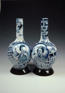 "Kurt Weiser, ""Hear No Evil Double Bottle"" 2013, porcelain, 18 x 16 x 8.5""."