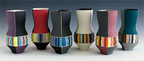 Peter Pincus, Six Individual Cups, 2016, colored porcelain, colored slip, 6.5 x 3""