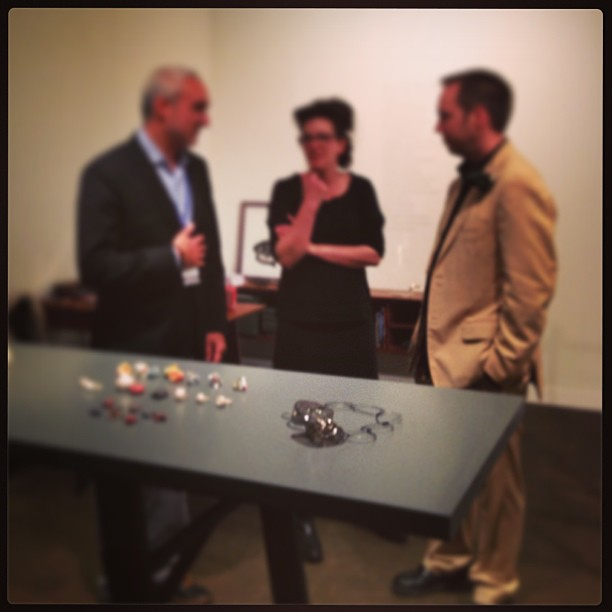 "NYC May 2013 at Collective design fair with the art dealers from left to right  Lewis Wexler, Sienna Patti and Stefan Friedemann at Collective.1, New York, NY ""building collections – one object at a time"""