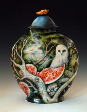 "Kurt Weiser, ""Fruit Story"" (reverse) 2013, china painted porcelain, 19 x 13 x 7""."