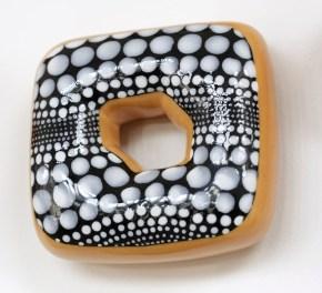 """Jae Yong Kim, """"Donut Madness"""" detail, 2013, ceramic, lustre glaze, glaze, Swarovski crystals, 57 x 57 x 1.5""""."""