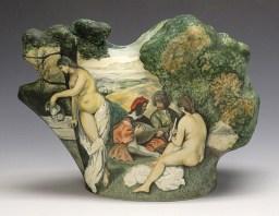"Kadri Pärnamets, ""Picnic"" 2014, porcelain, glaze, stain, 7.5 x 10.25 x 4″."